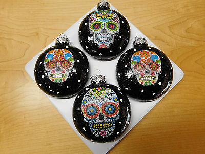 Sugar Skulls Decorated Glass Christmas Ornaments   Set Of 4