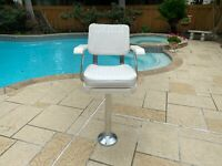 """New Pompanette P2000 Helm Chair w. 30"""" Aluminum Pedestal & Cushion Set"""