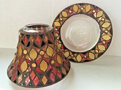Vtg Yankee Candle Co Glass Shade And Plate Set Red Brown Gold Mosaic Leaf 2010