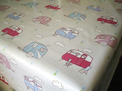 Fryetts VINTAGE CARAVAN Cotton PVC Fabric WIPE CLEAN Tablecloth Oilcloth