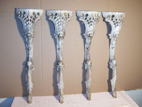 "Set (4) Heavy Ornate Antique Cast Iron Garden Table Legs 26"""