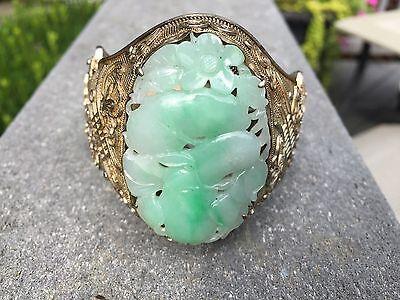 Antique Chinese Silver and Carved Jadeite Jade Bracelet, Ornate Detail & Large