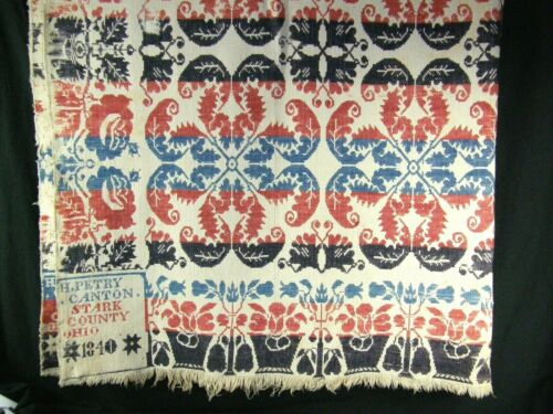 Antique Woven Jacquard Overshot Coverlet 1840 H Petry Canton Stark County Ohio