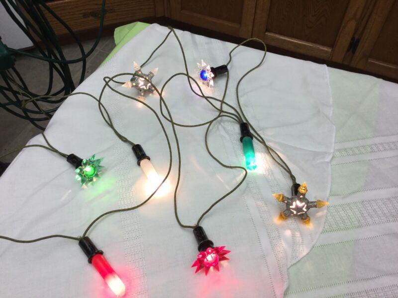 Vintage Christmas Tree Lights, Matchless USA Crystal, GE Mazda, Metal Rare Mix
