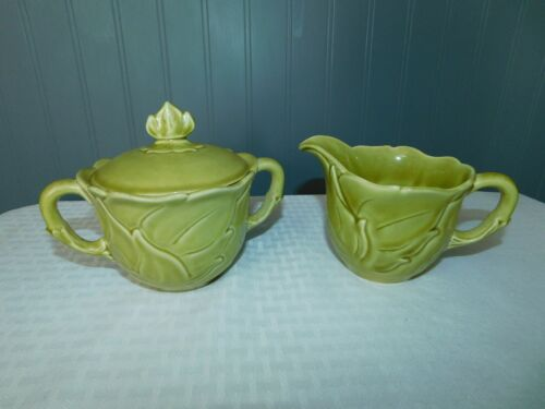 Woodfield Steubenville Creamer & Sugar with Lid Chartreuse
