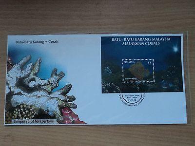 Malaysia 1992 21 Dec Corals Miniature Sheet FDC Bureau postmark Kuala Lumpur
