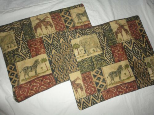 DAN RIVER SAFARI ELEPHANTS GIRAFFES BLACK TAN RUST (PAIR) STANDARD PILLOW SHAMS