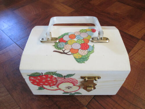 Decoupage Wooden Box Purse Felt Lined with Mirror   7 1/2x5x5