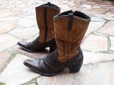 Cowboy Stiefel Braun (verwegene Cowboystiefel aus Glattleder und Veloursleder, spitz in 37 braun )