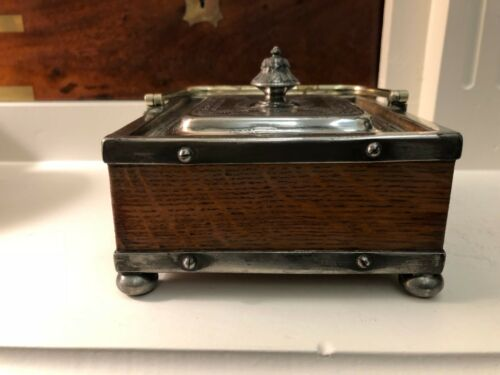 ANTIQUE VICTORIAN OAK AND SILVER PLATED ENGRAVED HALLMARKED SARDINE BOX CADDY