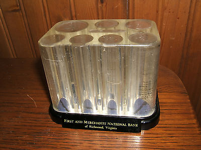 Vintage Antique Unique Coin Counting Bank Tom Thrift -Merchants National Bank