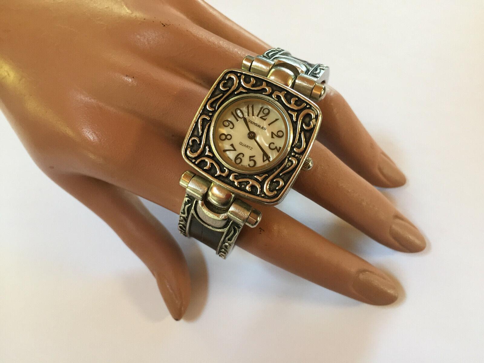Vintage Versales Armbanduhr für Damen Spangenuhr Armreif Quarz Fb. silber/schw.
