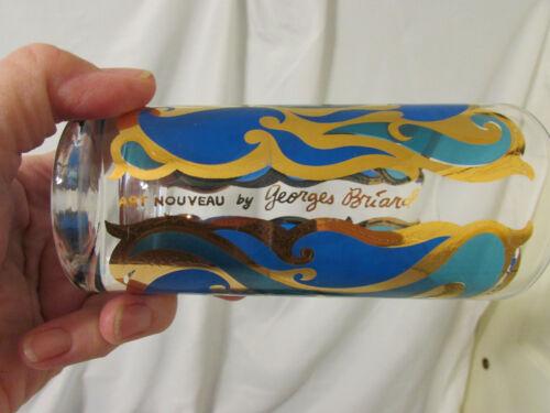 Set 14 Mid-Century ART NOUVEAU Georges Briard Highball Glasses Blue & 22k Gold