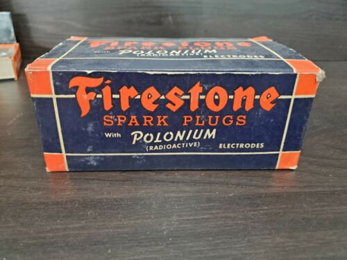 FIRESTONE SPARK PLUGS WITH POLONIUM. BRAND NEW 1944 FULL BOX OF 10  S-120-CF