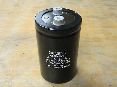 Siemens B43566-u0278-m2 Electrolytic Capacitor 2700uf 400v Lot Of 2xlnt