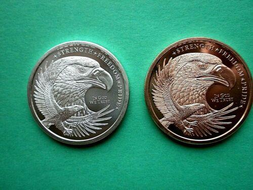 "American Bald Eagle- Back USA Flag - 1 oz Copper 1oz Silver Round ""NEW"" 2 COINS"
