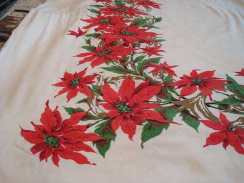 """Vintage~Xlarge~Christmas Tablecloth~58"""" x 92""""~Poinsettia~Red/Green/Gold~Cotton"""