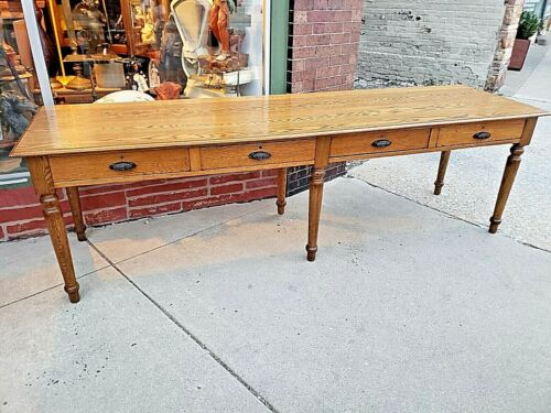 Victorian Antique 8 foot Oak Harvest library table with 6 legs & 4 drawers