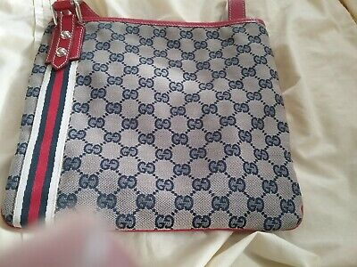 GUCCI GG JOLICOEUR BLUE BAG RED LEATHER CROSSBODY BAG WITH DUST JACKET