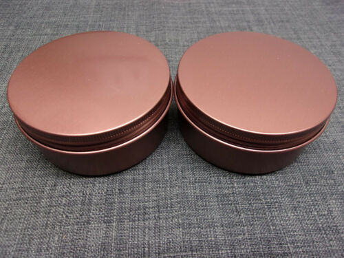 2x Metal Aluminum Lightweight Storage Tins (6oz.) BROWN Liyar