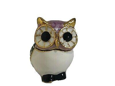 Hinged Trinket Box Owl Purple Green Gold Crystal Bejeweled Brand New  Crystal Purple Trinket Box