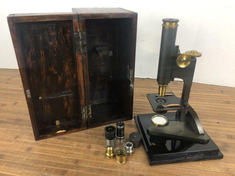 R & J Beck London Brass Microscope w/ Accessories wood case Lens
