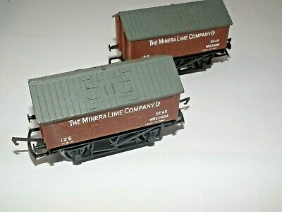 HORNBY MINERA LIME COMPANY LTD R.211 COVERED WAGONS X 2 00 GAUGE NR MINT