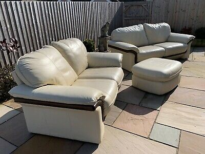 3 And 2 Seater Leather Beige Sofa With Matching Footstool Unique Design