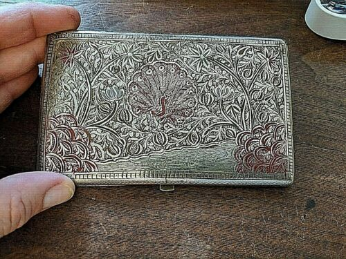 Gorgeous Vintage Cigarette Case with Peacocks