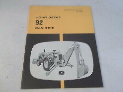 John Deere 92 Backhoe Fits 1010 Wheel Tractor With 710 Loader Operators Manual