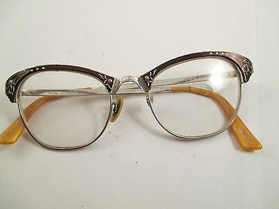 Vintage Black Silver Trim Cat Eye Horn Rimmed Frame Glasses Prescription Lenses