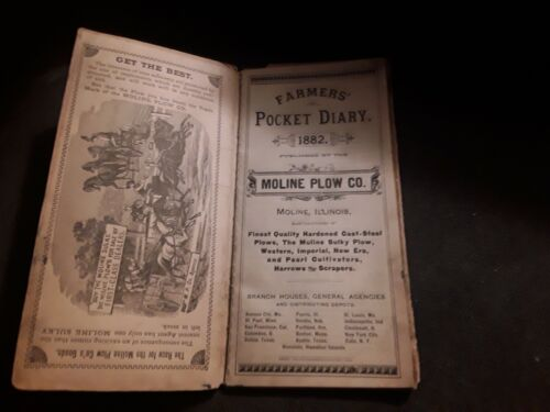 1882 MOLINE PLOW CO. FARMERS POCKET DIARY WITH HAND WRITTEN GOODS SALES... RARE