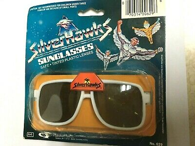 Silverhawks Sunglasses Silver Hawks Cartoon Toy  New on Card 1986 Vtg (Hawkings Sunglasses)