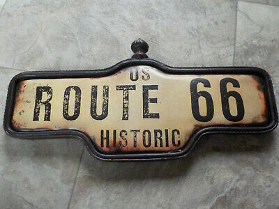 US Historic Route 66 Metal Tin Sign Mancave Garage Motorcycle Faux Distress