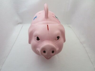VINTAGE PINK PLASTIC PIGGY BANK BY RELIABLE MADE IN CANADA CIRCA - Pink Plastic Piggy Bank