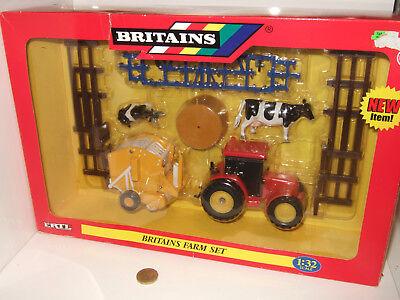 Britains 42327 Farm Set inc Tractor Baler Bale Cultivator fences Cattle etc