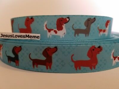 Grosgrain Ribbon Dachshund Dogs on Teal Scent Hounds Hot Dogs Rescue Pets 7/8