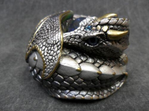 Windstone Editions NEW * Silver Curled Dragon * Statue Figure Figurine