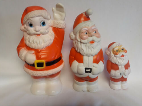 Vintage Rubber squeak toys, Santas, Sanitoy, Stahlwood, & dog Santa, Lot of FOUR