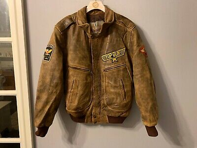 VINTAGE DISTRESSED LEATHER MOTORCYCLE JACKET SIZE 2 / M