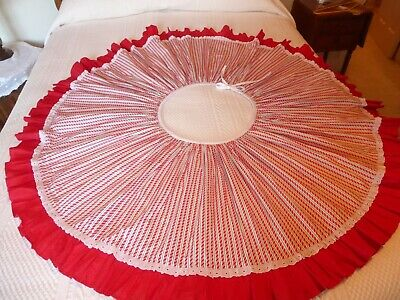 "Tree Skirt Candy Cane Stripe Fabric Eyelet Red Polk Dot Ruffle 53"" (S0"