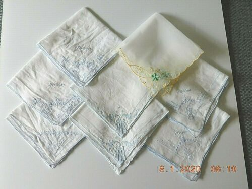 VTG ESTATE LADIES HANKERCHIEFS LOT OF 8 EMBROIDERED - Nice