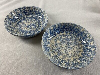 "Gerald E. Henn Workshops Blue Spongeware 8"" Bowls Set Of 2 Roseville Pottery"