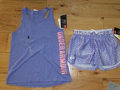 Under Armour lavender logo tank top & patterned shorts NWT UPICK girls' M L XL Girl Logo Tank