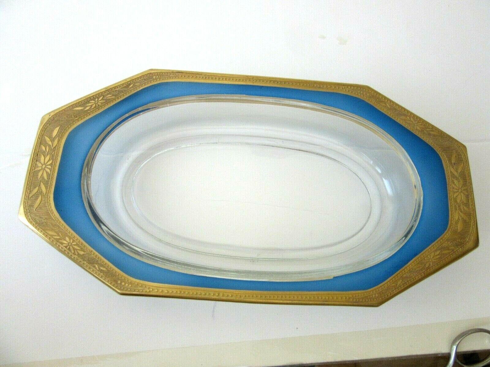 Vintage Large Glass Dresser Tray, Gold & Blue Rim