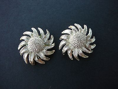 Vintage BSK Sunflower  Earrings Clip On Gold Tone  on Rummage