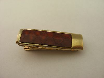 Leather Insert Vintage Gold Tone Mens Tie Bar Clip Jewelry