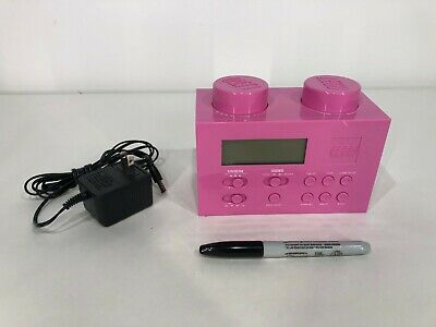 PINK LEGO Digital AM/FM Alarm Clock Radio LG11009 w/AC Adapter Kids Toy Play