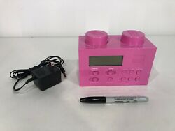 PINK LEGO Digital AM/FM Alarm Clock Radio LG11009 w/AC Adapter Kids Toy Play
