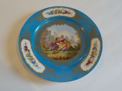 """18th C. Sevres Porcelain 9.75"""" Cabinet Plate, Courting Scene signed Boucher"""